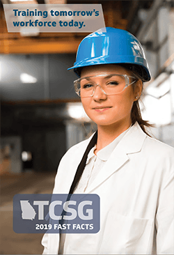 2019 TCSG Fast Facts Cover image - a student with a hardhat on standing in a warehouse
